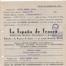 Facturas antiguas: ORDEN DE PEDIDO DE LA OBRA , LA ESPAÑA DE FRANCO. ZARAGOZA 1940. TAMPÓN SALUDO A FRANCO ¡ARRI. Lote 26617759