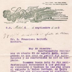 Facturas antiguas: LA FORTUNA. FÁBRICA DE CHOCOLATES. MADRID 6 DE SEPTIEMBRE DE 1935.. Lote 26710853