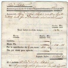 Facturas antiguas: DOCUMENTO MILITAR. AÑO 1828. FACTURA EN REALES REGIMIENTO DE GRANADEROS. Lote 26775364