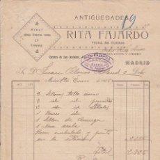 Fatture antiche: FACTURA: ANTIGÜEDADES RITA FAJARDO. CARRERA DE SAN JERÓNIMO, 42 - MADRID 1906. Lote 27340213