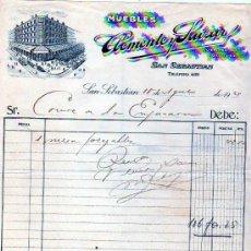 Fatture antiche: FACTURA. MUEBLES CLEMENTE SAIZAR. SAN SEBASTIAN. GUIPUZCOA. 1927. . Lote 28011946