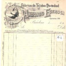 Facturas antiguas: FACTURA ANTIGUA - TEJIDOS ANTONIO ESTRUCH - BARCELONA -( FAC-2). Lote 28083058