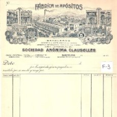 Facturas antiguas: FACTURA ANTIGUA - APOSITOS CLAUSOLLES - BARCELONA -( FAC-3). Lote 28083069