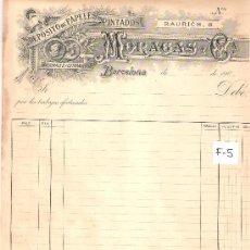 Facturas antiguas: FACTURA ANTIGUA - PAPELES PINTADOS MORAGAS - BARCELONA -( FAC-5). Lote 28083084