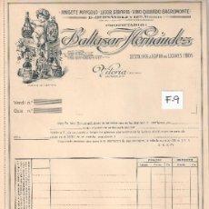 Facturas antiguas: FACTURA ANTIGUA - ANISES Y LICORES BALTASAR HERNANDEZ - VITORIA -( FAC-9). Lote 28083131