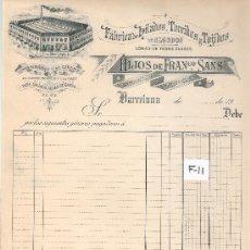 Facturas antiguas: FACTURA ANTIGUA - HILADOS Y TEJIDOS HIJOS DE FRANCISCO SANS - BARCELONA -( FAC-11). Lote 28083165