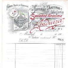 Facturas antiguas: FACTURA ANTIGUA - JOYERIA Y PLATERIA ANDUIZA - BILBAO Y MADRID -( FAC-15). Lote 28083221