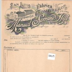 Facturas antiguas: FACTURA ANTIGUA - SOMBREROS MANUEL SERRANO E HIJO - PRIEGO CORDOBA -( FAC-19). Lote 28083272