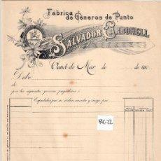 Facturas antiguas: FACTURA ANTIGUA - GENEROS DE PUNTO SALVADOR CARBONELL - CANET DE MAR -( FAC-22). Lote 28083330