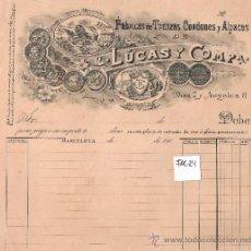 Facturas antiguas: FACTURA ANTIGUA - TRENZAS , CORDONES Y ALPACAS LUCAS Y COMPAÑIA.- BARCELONA -( FAC-24). Lote 28083364