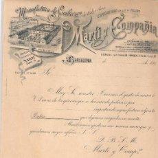 Facturas antiguas: FACTURA ANTIGUA - SOMBREROS MARTI Y COMPAÑIA - BARCELONA -( FAC-32). Lote 28083457