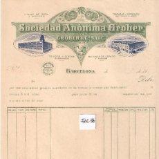 Facturas antiguas: FACTURA ANTIGUA - TEJIDOS SOCIEDAD ANONIMA GROBER - BARCELONA GERONA Y BESCANO -( FAC-38). Lote 28083617