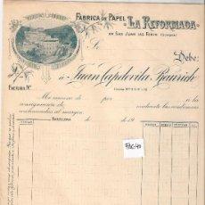 Facturas antiguas: FACTURA ANTIGUA - FABRICA DE PAPEL LA REFORMADA - SAN JUAN DE LAS FONTS -( FAC-40). Lote 28083645