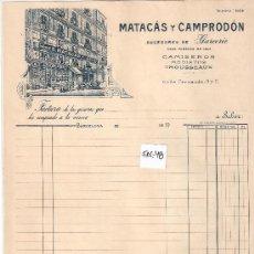 Facturas antiguas: FACTURA ANTIGUA - CAMISEROS Y MODISTOS MATACAS Y CAMPRODON - BARCELONA -( FAC-48). Lote 28083805