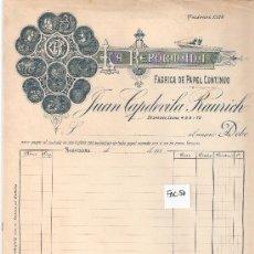 Facturas antiguas: FACTURA ANTIGUA - PAPEL CONTINUO LA REFORMADA JUAN CAPDEVILA RAURICH - BARCELONA -( FAC-50). Lote 28083840