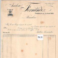 Facturas antiguas: FACTURA ANTIGUA - JUGUETES ISIDORO FERNANDEZ - BARCELONA -( FAC-39). Lote 28084192