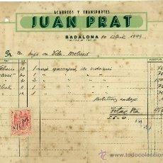 Faturas antigas: FACTURA JUAN PRAT. BADALONA. 1949. ACARREOS Y TRANSPORTES.. Lote 28150687