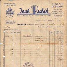 Facturas antiguas: 1937 VALENCIA. JOSE RUBIO ABASCAL SELLO CONTROL DE UGT Y CNT. GUERRA CIVIL. Lote 28301046
