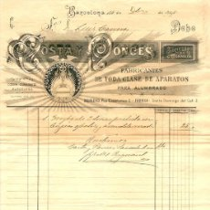 Facturas antiguas: RECIBO COSTA Y PONCES FABRICANTES DE TODA CLASE DE APARATOS PARA ALUMBRADO - BARCELONA 1895 . Lote 28417809