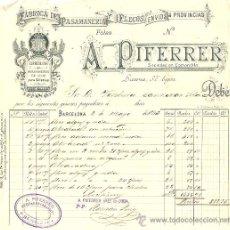 Facturas antiguas: RECIBO A. PIFERRER FÁBRICA DE PASAMANERÍA - BARCELONA 1893. Lote 28417905