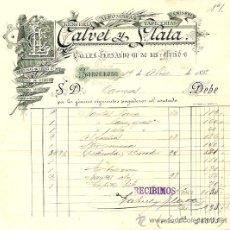 Facturas antiguas: RECIBO DE CALVET Y PLATA LENCERÍA, ALFOMBRAS TAPICERÍAS Y CAMISERÍA - BARCELONA 1892. Lote 28417993