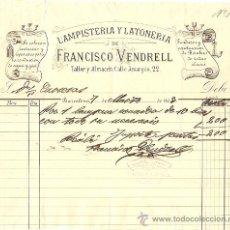 Facturas antiguas: RECIBO DE FRANCISCO VENDRELL LAMPISTERÍA Y LATONERÍA - BARCELONA 1893. Lote 28418052