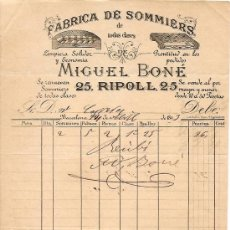 Facturas antiguas: RECIBO DE MIGUEL BONÉ FABRICA DE SOMMIERS - BARCELONA 1893. Lote 28418115