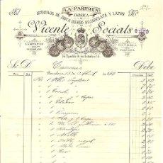 Facturas antiguas: RECIBO DE VICENTE SOCIALS LA PARISIEN ARTÍCULOS DE ZINCH HIERRO HOJALATA - BARCELONA 1893. Lote 28418215