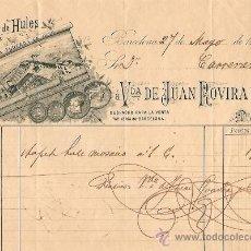 Facturas antiguas: RECIBO DE VDA. DE JUAN ROVIRA Y CA. FABRICA DE HULES - BARCELONA 1893. Lote 28418252