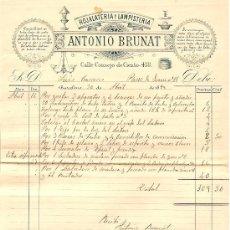 Facturas antiguas: RECIBO DE ANTONIO BRUNAT HOJALATERIA Y LAMPISTERIA - BARCELONA 1895. Lote 28418272