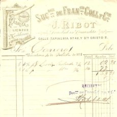 Facturas antiguas: RECIBO DE J. RIBOT SUCESORES DE FRANCISCO COLLS FABRICA DE LIENZOS - BARCELONA 1895. Lote 28418373