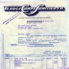 Facturas antiguas: FACTURA. TEJIDOS CAMPS SAMITIER. S.A. CUTIES Y ADAMASCADOS DE ALGODÓN. BARCELONA.. Lote 28424195