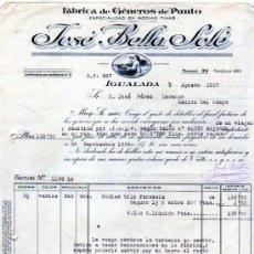 Facturas antiguas: FACTURA. FÁBRICA DE GENEROS DE PUNTO. JOSÉ BELLA SOLÉ. IGUALADA. BARCELONA. 1927.. Lote 28425458