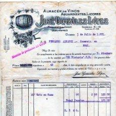 Facturas antiguas - Factura. Almacen de vinos, aguardientes. Jose Gonzalez López. Oviedo. 1931. - 28434036