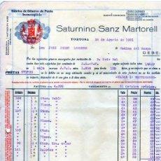 Facturas antiguas: FACTURA. FÁBRICA DE GÉNEROS DE PUNTO. SATURNINO SANZ MARTORELL. TORTOSA. TARRAGONA. 1931. Lote 28477938