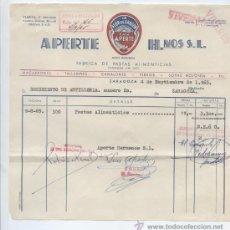 Factures anciennes: ALIMENTACION.FACTURA APERTE HMOS. FABRICA DE PASTAS ALIMENTICIAS. ZARAGOZA 1965. Lote 28584963