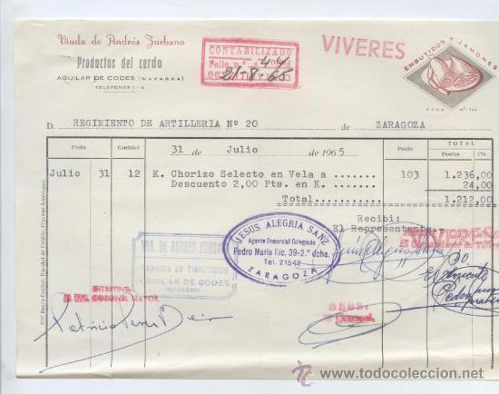 ALIMENTACION. FCTA. DE VIUDA DE ANDRES ZURBANO. PRODUCTOS DEL CERDO. AGUILAR DE CODES (NAVARRA) 1965 (Coleccionismo - Documentos - Facturas Antiguas)
