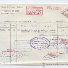 Factures anciennes: ALIMENTACION. FCTA. DE VIUDA DE ANDRES ZURBANO. PRODUCTOS DEL CERDO. AGUILAR DE CODES (NAVARRA) 1965. Lote 28585253