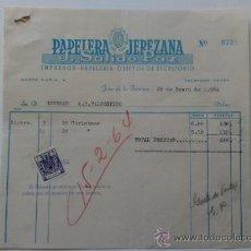 Facturas antiguas: FACTURA. ESPAÑA. CADIZ. JEREZ. ENERO 1964. J. SALIDO PAZ. PAPELERA JEREZANA. . Lote 38947528