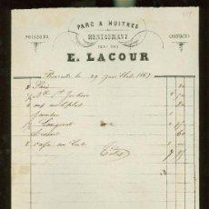 Facturas antiguas: FACTURA RESTAURANTE PARC A HUITRES, E.LACOUR. Lote 28745734