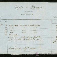 Facturas antiguas: FACTURA. FONDA DE MIRANDA. HABITACION NUMERO 1866. . Lote 28755791