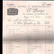 Facturas antiguas: FACTURA GRAN HOTEL Y RESTAURANTE EL PASAJE. HABANA 1899. Lote 28919924