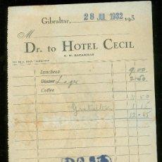 Facturas antiguas: HOTEL CECIL, GIBRALTAR, 1932, ALGECIRAS. Lote 29035465