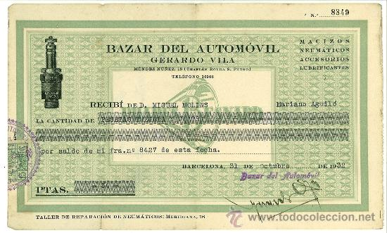 RECIBO TALLER BAZAR AUTOMOVIL GERARDO VILA BARCELONA. MENDEZ NUÑEZ 1932. PUBLICIDAD NEUMATICOS (Coleccionismo - Documentos - Facturas Antiguas)