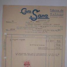 Facturas antiguas: FACTURA. BARCELONA. ABRIL 1944. CASA SANZ. FABRICA DE MUÑECAS.. Lote 50893274