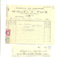 Facturas antiguas: GUERRA CIVIL 1937 Y 1938 CINCO FACTURAS CON SELLOS PATRIOTICOS FALANGE MALLORCA. Lote 29586459