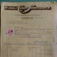 Facturas antiguas: FACTURA. BARCELONA. MAYO 1945. TEJIDOS CAMPS SAMITIER, S. A. CUTIES Y ADAMASCOS DE ALGODON.. Lote 29608823