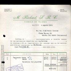 Faturas antigas: FACTURA. ALCOY. M. RICHART. FABRICA DE TEJIDOS. 1960.. Lote 29647810
