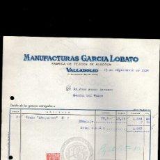 Facturas antiguas: FACTURA. VALLADOLID. MANUFACTURAS GARCIA LOBATO. FABRICA TEJIDOS ALGODON. 1954.. Lote 29656597