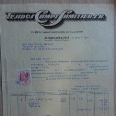 Facturas antiguas: FACTURA. BARCELONA. MARZO 1943. TEJIDOS CAMPS SAMITIER, S. A. CUTIES Y DAMASCOS DE ALGODON.. Lote 29716979